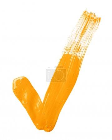 Oil paint brush stroke yes tick mark