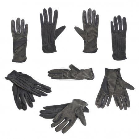 Photo for Black cloth working gloves with the rubber pimples isolated over the white background, set of multiple foreshortenings - Royalty Free Image