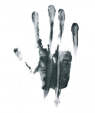 Photo for Handmade hand palm smeared oil paint print isolated over the white background - Royalty Free Image