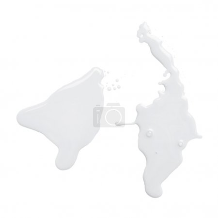 Photo pour La flaque d'eau d'un déversement de peinture à l'huile isolé sur le fond blanc, vue de dessus - image libre de droit