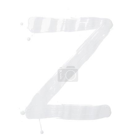 Photo pour Lettre Z caractère dessiné à la main avec les coups de pinceau à l'huile, isolé sur le fond blanc - image libre de droit