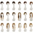 Hair wig over the white plastic mannequin head isolated over the white background, set of multiple different wigs in the front foreshortening