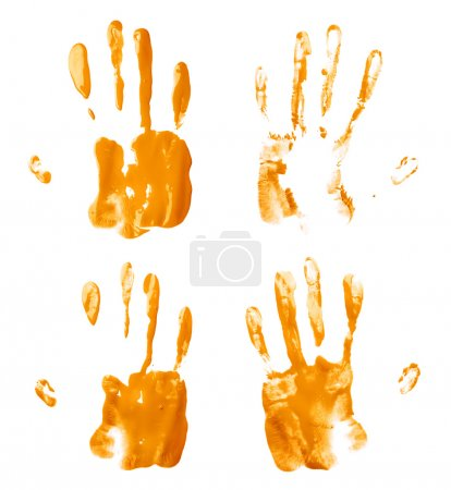 Oil paint hand palm prints