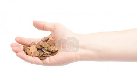 Hand holding a pile of euro coins
