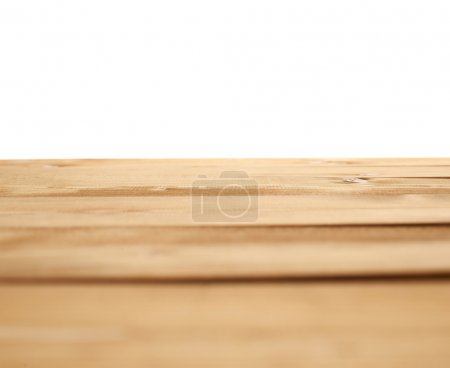 Photo for Brown paint coated wooden pine boards as a copyspace background composition isolated over the white background - Royalty Free Image