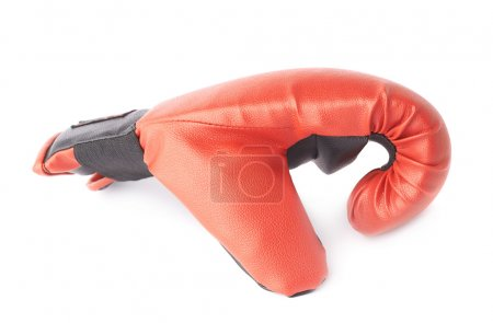 Photo for Single red and black boxing glove isolated over the white background - Royalty Free Image