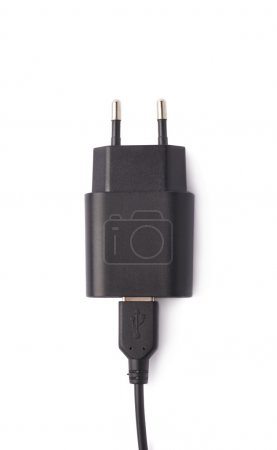 Fragment of the black adapter charger