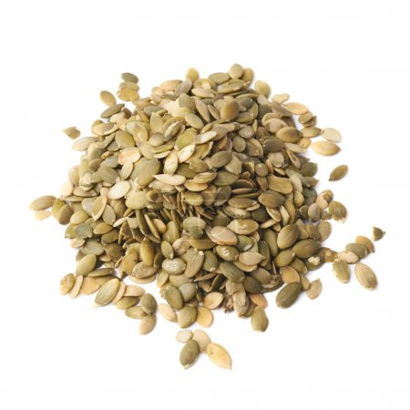 Photo for Pile of pumpkin seeds isolated over the white background - Royalty Free Image