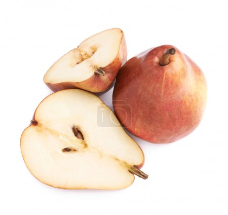 Cut and served red pears