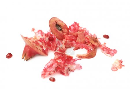 Eaten pomegranate remains and lumps