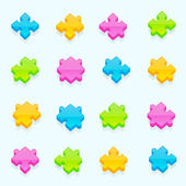 Set of dimensional puzzle pieces with the glossy shading eps10 vector icon clip art color is easy to edit
