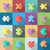 Multiple flat style puzzle pieces set eps10 vector clip art