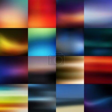 Illustration for Set of sixteen blurred out of focus vector backgrounds - Royalty Free Image