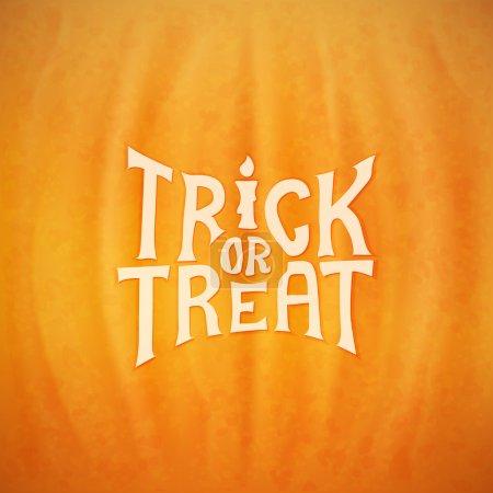 Illustration pour Trick ou traiter le lettrage vectoriel calligraphique sur un fond de texture de citrouille Halloween - image libre de droit