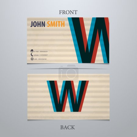 Business card template, letter W