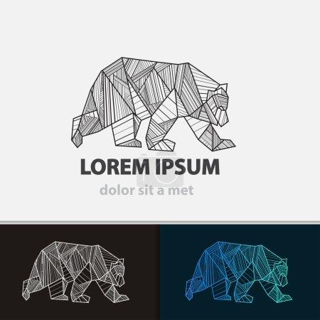 Illustration pour Ours icône stylisée créative. Idée vectorielle bête féroce. Forme de triangle avec lignes . - image libre de droit