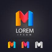 Colorful logo design set template letter m Creative 3d vector icons Trendy business elements