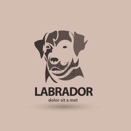 Vector stylized silhouette face labrador. Artistic creative logo design.