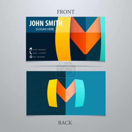 Vector creative business card template, letter M. Trendy business elements.