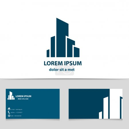 Illustration for Building construction, logo design for your company. Creative logotype with business card template. - Royalty Free Image