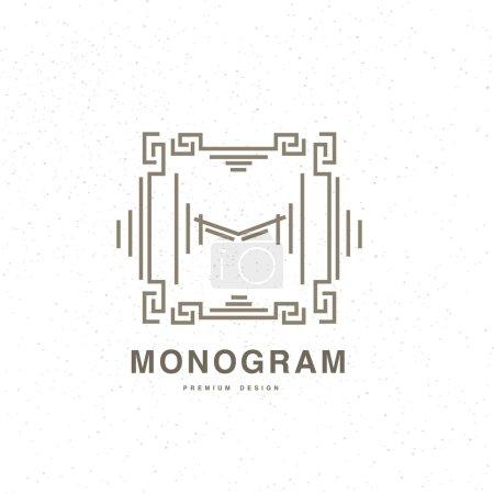 Geometric monogram linear style logo design, letter M. Vector artistic concept.