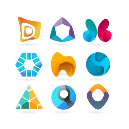 Vector logo design elements. Set of nine abstract logotypes.