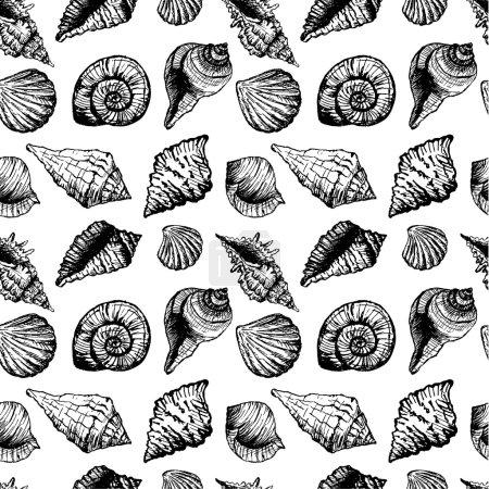 Illustration pour Modèle sans couture dessiné à la main avec divers coquillages. Fond vectoriel abstrait avec bulles. Illustration vectorielle pour votre design - image libre de droit