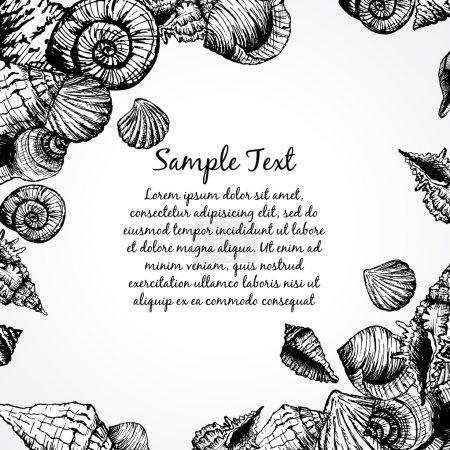 Illustration pour Modèle dessiné à la main avec divers coquillages et endroit pour le texte. Fond vectoriel abstrait avec bulles. Illustration vectorielle pour votre design - image libre de droit