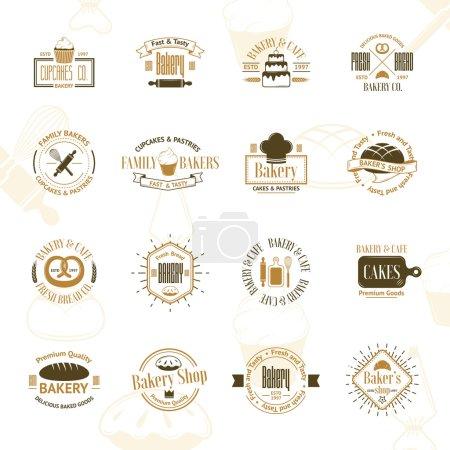 Illustration pour Badges, étiquettes et logos de boulangerie vintage. Illustration vectorielle pour votre design - image libre de droit