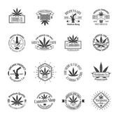 Set of medical marijuana logos Cannabis badges labels and logos for your shop design