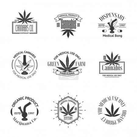 Illustration for Set of medical marijuana logos. Cannabis badges, labels and logos for your shop design - Royalty Free Image