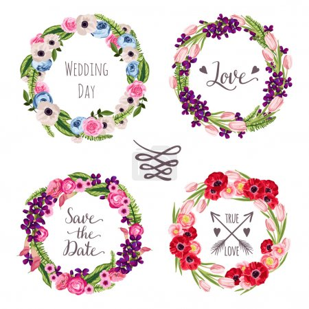 Wedding collection wreaths with hand-drawn flowers and plants