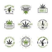 Set of medical marijuana logos Cannabis badges labels and logos