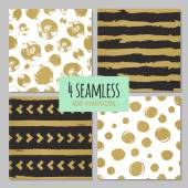 Set of 4 hand drawn seamless trendy patterns with ink brush strokes Isolated on white and black backgrounds Vector patterns for your design