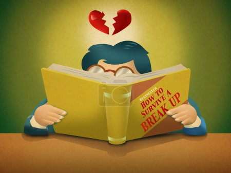 A person reads a book entitled How to Survive a Break Up