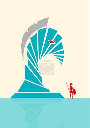 Concept of a Trojan Horse Abstract Illustration Concept. Editable Clip art.