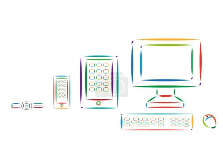 Different Modern Tech Devices Colorful Line Art. Editable Clip Art.