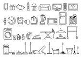Set of Home and Lifestyle Tools and Objects in Outline Art Style Editable Clip Art