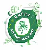 Happy St Patrick's Day Design Concept with outline art of  objects used in the annual parade like musical instruments and green hat Isolated on white background Editable Vector EPS10 and jpg