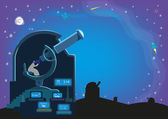 A man inside an observatory with a Large Telescopes and Laboratory searching for heavenly bodies in the universe Editable Vector Clip Art