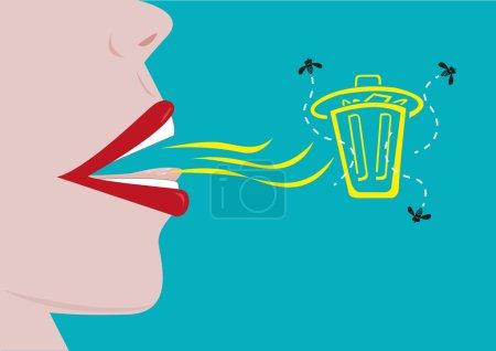 Illustration pour Une personne avec une mauvaise haleine représentée par une poubelle peut encercler les mouches. Clip Art modifiable . - image libre de droit