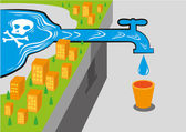 Getting toxic water from a water source with lewhich is deadly Editable Clip Art