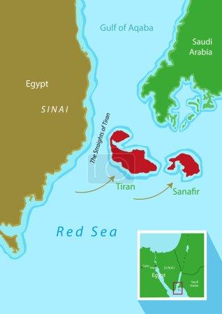 Tiran and Sanafir islands deal between Egypt and Saudi Arabia. Editable Clip Art.