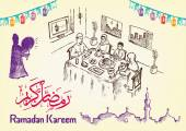 A Clipart doodle style of a muslim family breaking fast during Ramadan season