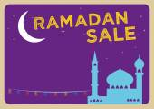 Ramadan Festival Sale concept with Fannous Lanterns in a Mosque and a Large Crescent Moon Editable Clip Art