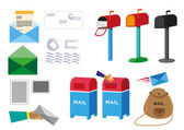 Set of Mail and Postal icon concept illustrations