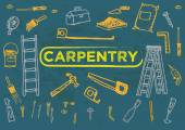 Hand sketched artwork style of different carpentry tools