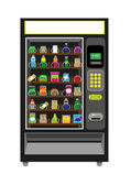 Vending Machine Black color Isolated on white background Editable Clip Art