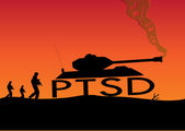 Illustrated concept of a war zone where soldiers walk behind a tank with PTSD wheels