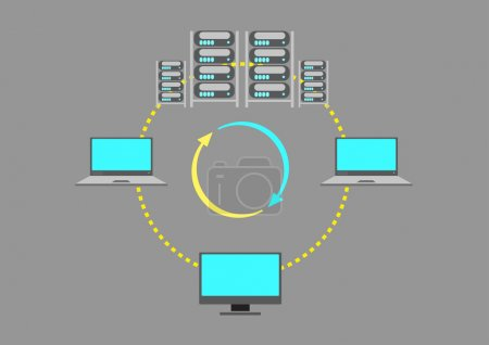 A Server Farm or  Web Data center concept. Editable Clip Art.